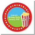 Circus Popcorn - Round Personalized Birthday Party Sticker Labels thumbnail