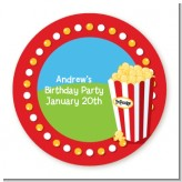 Circus Popcorn - Round Personalized Birthday Party Sticker Labels