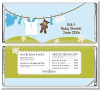 Clothesline It's A Boy - Personalized Baby Shower Candy Bar Wrappers
