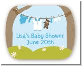 Clothesline It's A Boy - Personalized Baby Shower Rounded Corner Stickers
