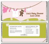 Clothesline It's A Girl - Personalized Baby Shower Candy Bar Wrappers