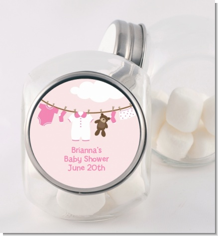 Clothesline It's A Girl - Personalized Baby Shower Candy Jar