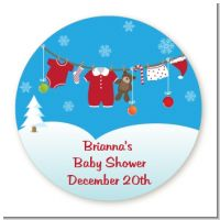Clothesline Christmas - Round Personalized Baby Shower Sticker Labels