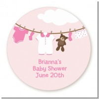 Clothesline It's A Girl - Round Personalized Baby Shower Sticker Labels