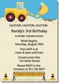 Construction Truck - Birthday Party Invitations