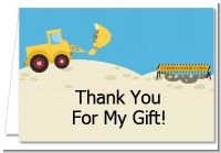 Construction Truck - Birthday Party Thank You Cards