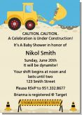 Construction Truck - Baby Shower Invitations