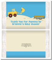 Construction Truck - Personalized Popcorn Wrapper Baby Shower Favors