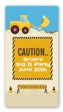 Construction Truck - Custom Rectangle Birthday Party Sticker/Labels