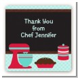 Cooking Class - Square Personalized Birthday Party Sticker Labels thumbnail