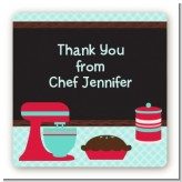 Cooking Class - Square Personalized Birthday Party Sticker Labels