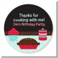 Cooking Class - Round Personalized Birthday Party Sticker Labels thumbnail