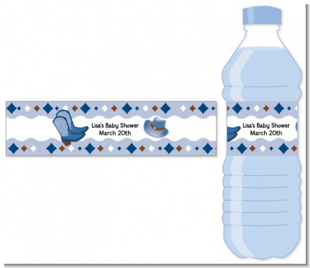 Cowboy Western - Personalized Baby Shower Water Bottle Labels