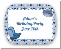 Cowboy Western - Personalized Birthday Party Rounded Corner Stickers