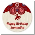 Cowgirl Rider - Round Personalized Birthday Party Sticker Labels thumbnail