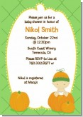 Pumpkin Baby Caucasian - Baby Shower Invitations