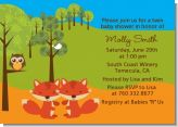 Forest Animals Twin Foxes - Baby Shower Invitations