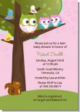 Owl - Look Whooo's Having Twin Girls - Baby Shower Invitations