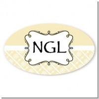 Modern Thatch Cream - Personalized Everyday Party Oval Sticker/Labels