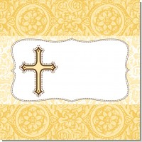 Cross Yellow & Brown Baptism Theme