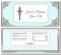 Cross Blue & Brown - Personalized Baptism / Christening Candy Bar Wrappers