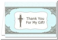 Cross Blue & Brown - Baptism / Christening Thank You Cards