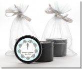 Cross Blue & Brown - Baptism / Christening Black Candle Tin Favors