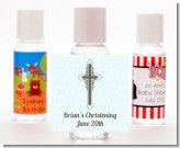 Cross Blue & Brown - Personalized Baptism / Christening Hand Sanitizers Favors