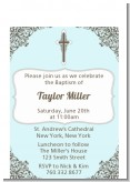 Cross Blue & Brown - Baptism / Christening Petite Invitations
