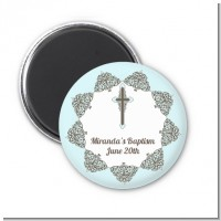 Cross Blue & Brown - Personalized Baptism / Christening Magnet Favors
