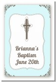 Cross Blue & Brown - Custom Large Rectangle Baptism / Christening Sticker/Labels