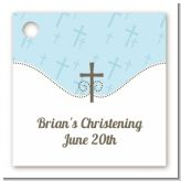 Cross Blue - Personalized Baptism / Christening Card Stock Favor Tags
