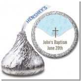 Cross Blue - Hershey Kiss Baptism / Christening Sticker Labels
