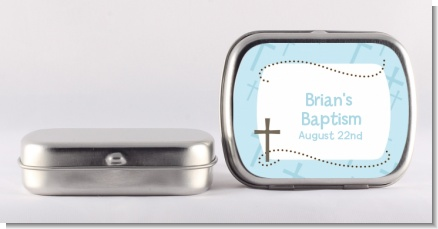Cross Blue - Personalized Baptism / Christening Mint Tins