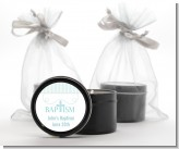 Cross Blue Necklace - Baptism / Christening Black Candle Tin Favors