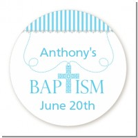 Cross Blue Necklace - Round Personalized Baptism / Christening Sticker Labels