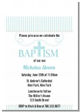 Cross Blue Necklace - Baptism / Christening Petite Invitations