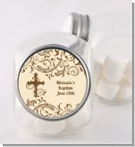 Cross Brown & Beige - Personalized Baptism / Christening Candy Jar