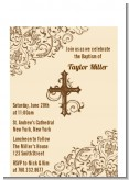 Cross Brown & Beige - Baptism / Christening Petite Invitations