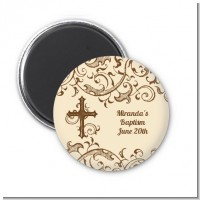 Cross Brown & Beige - Personalized Baptism / Christening Magnet Favors