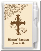 Cross Brown & Beige - Baptism / Christening Personalized Notebook Favor