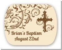 Cross Brown & Beige - Personalized Baptism / Christening Rounded Corner Stickers