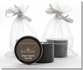 Cross Brown Necklace - Baptism / Christening Black Candle Tin Favors
