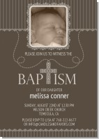 Cross Brown Necklace Photo - Baptism / Christening Invitations