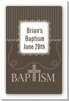 Cross Brown Necklace - Custom Large Rectangle Baptism / Christening Sticker/Labels