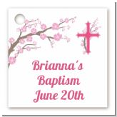 Cross Cherry Blossom - Personalized Baptism / Christening Card Stock Favor Tags