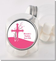 Cross Cherry Blossom - Personalized Baptism / Christening Candy Jar