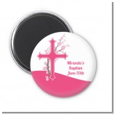 Cross Cherry Blossom - Personalized Baptism / Christening Magnet Favors
