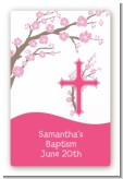 Cross Cherry Blossom - Custom Large Rectangle Baptism / Christening Sticker/Labels