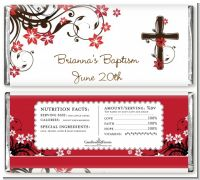 Cross Floral Blossom - Personalized Baptism / Christening Candy Bar Wrappers